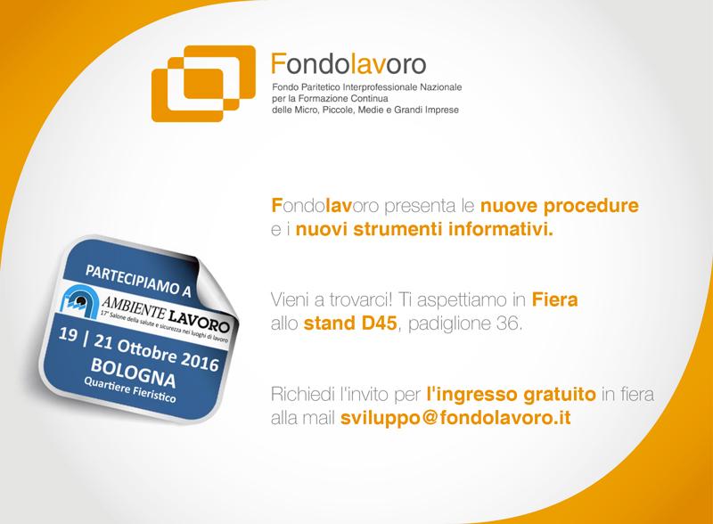 """Fondolavoro in Fiera """"Ambiente Lavoro"""" a Bologna dal 19 al 21 ottobre"""